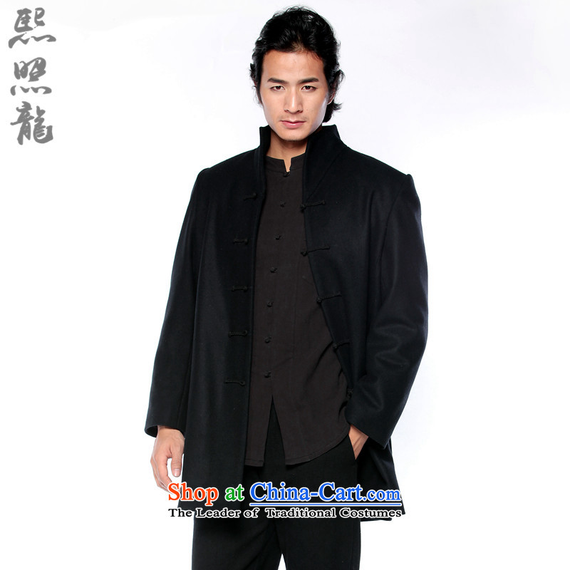 Hee-snapshot lung original China wind autumn and winter men detained in men's disc long collar and wool coat overcoat black燣
