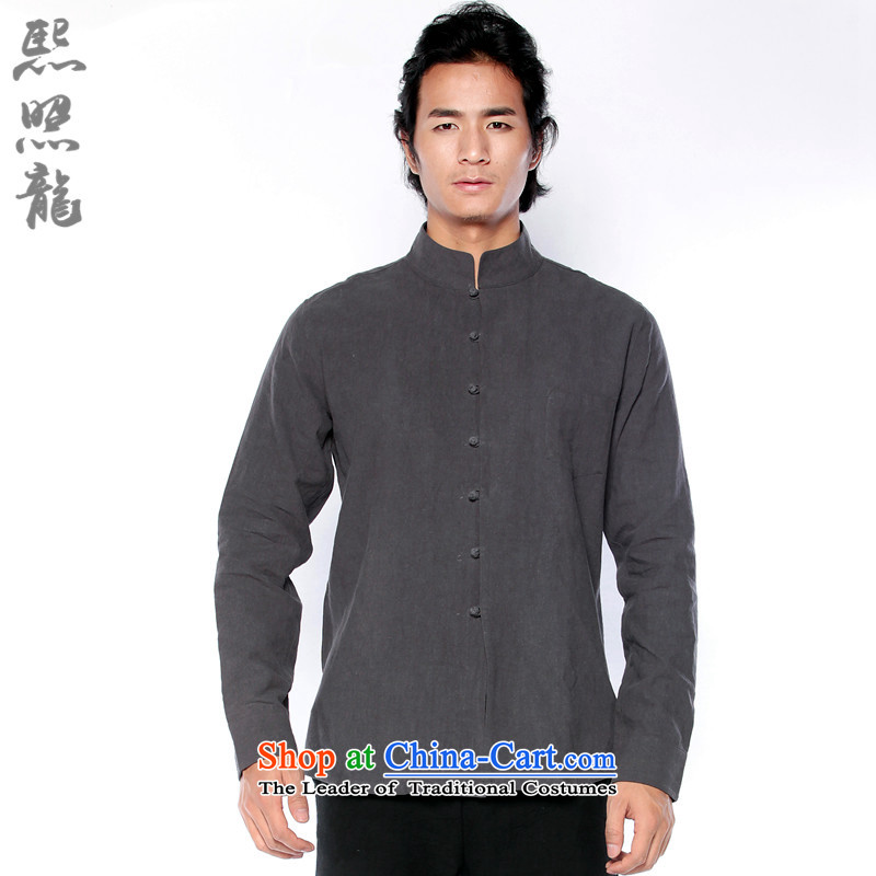 Hee-Snapshot Lung China wind cotton linen shirt men fall in Mock-Neck Shirt decorated long-sleeved improved carbon men carbon聽L