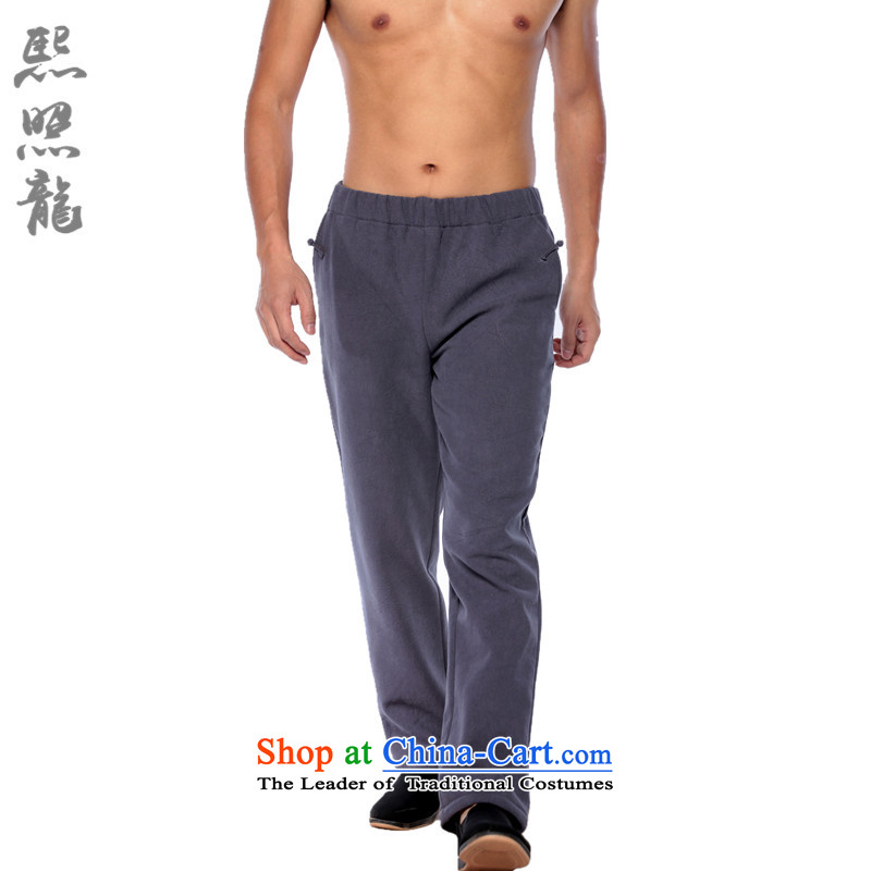 Hee-snapshot lung stylish China Wind Pants men Flex-cotton plus extra thick small direct foot-elastic trousers 2014 autumn and winter carbon?S