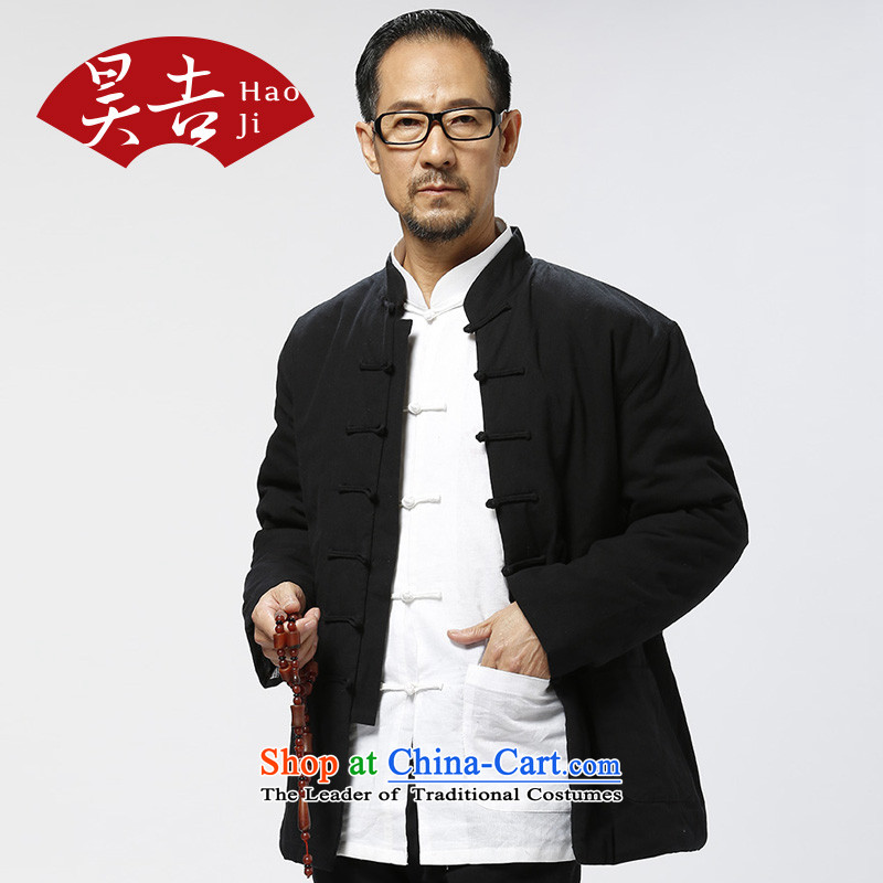 Ho Chi men older Tang dynasty cotton jacket thick cotton coat of older persons hand pure rough robe cotton Black聽185