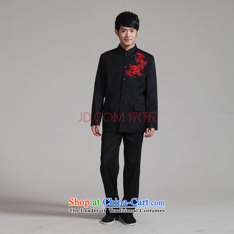 Joseph Pang Men's Mock-Neck Korean Chinese tunic suit coats the bridegroom wedding dresses Sau San Kit?- 2 Black?XL