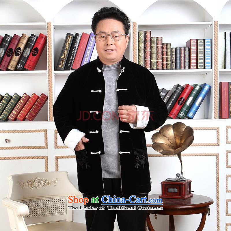 Joseph Pang Men Tang dynasty long-sleeved sweater in older men Tang dynasty robe scouring pads reversible made wedding dress�- 2 black blue double-sided wear�XXL