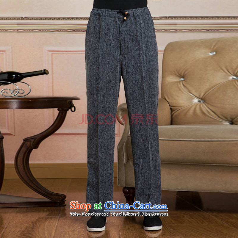 Joseph Pang Men Tang elastic waist pants cotton linen trousers and pants casual pants TROUTHES XXXL - 2