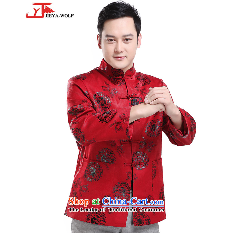 - Wolf JIEYA-WOLF, New Tang dynasty Long-sleeve autumn and winter blouses thick men jacket men stylish jacket, a red jacket, Bruce Millennium?185/XXL