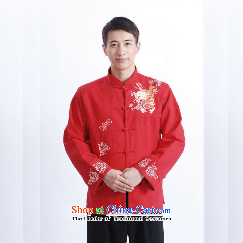 Tang Dynasty Joseph Pang Men long-sleeved national costumes men Tang jackets collar embroidery Chinese dragon?M1122 RED?L