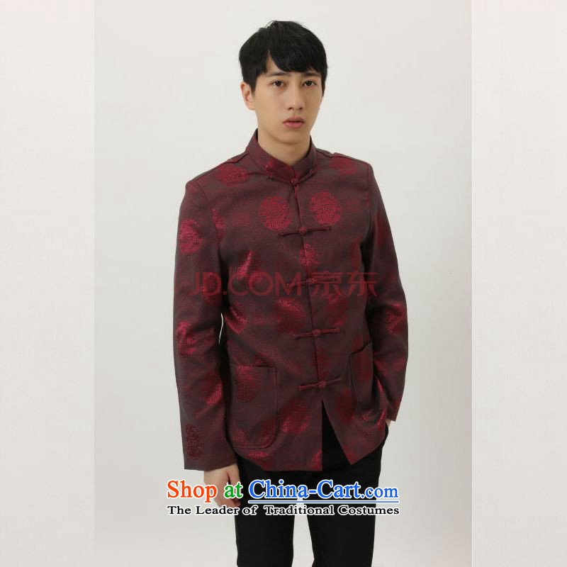 The elderly in the Arthur Min Tang dynasty China wind collar dress too Shou Yi wedding services will Chinese male Tang jackets wine red?XXL
