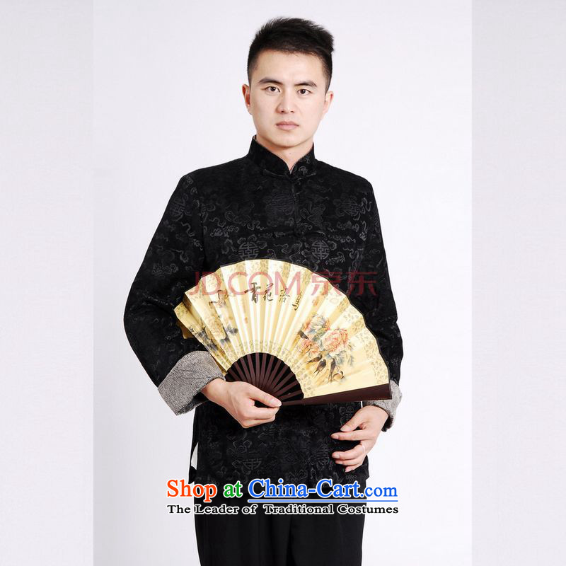 Tang Dynasty Joseph Pang Men long-sleeved sweater Tang blouses Men's Jackets Tang cotton waffle add?-A black?XXL