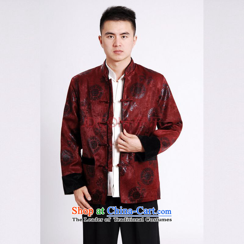 Tang Dynasty Joseph Pang Men long-sleeved sweater Tang blouses men's jacket water Sable Hair Tang add cotton waffle?XXXL wine red