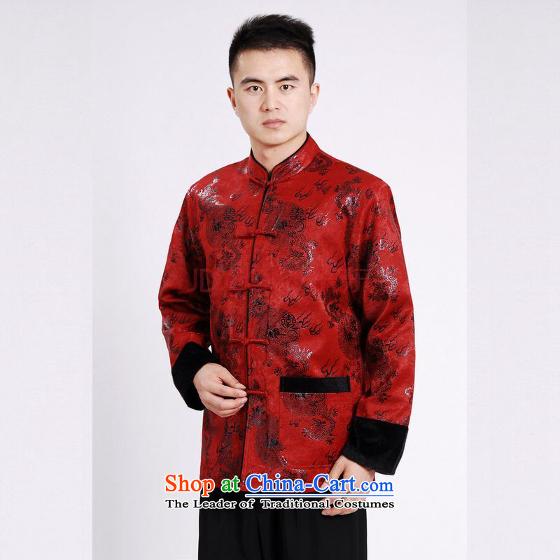 Min Joseph men's jacket water Sable Hair Tang Add Tang dynasty lint-free men long-sleeved sweater Chinese Dragon Tang blouses red�XXL
