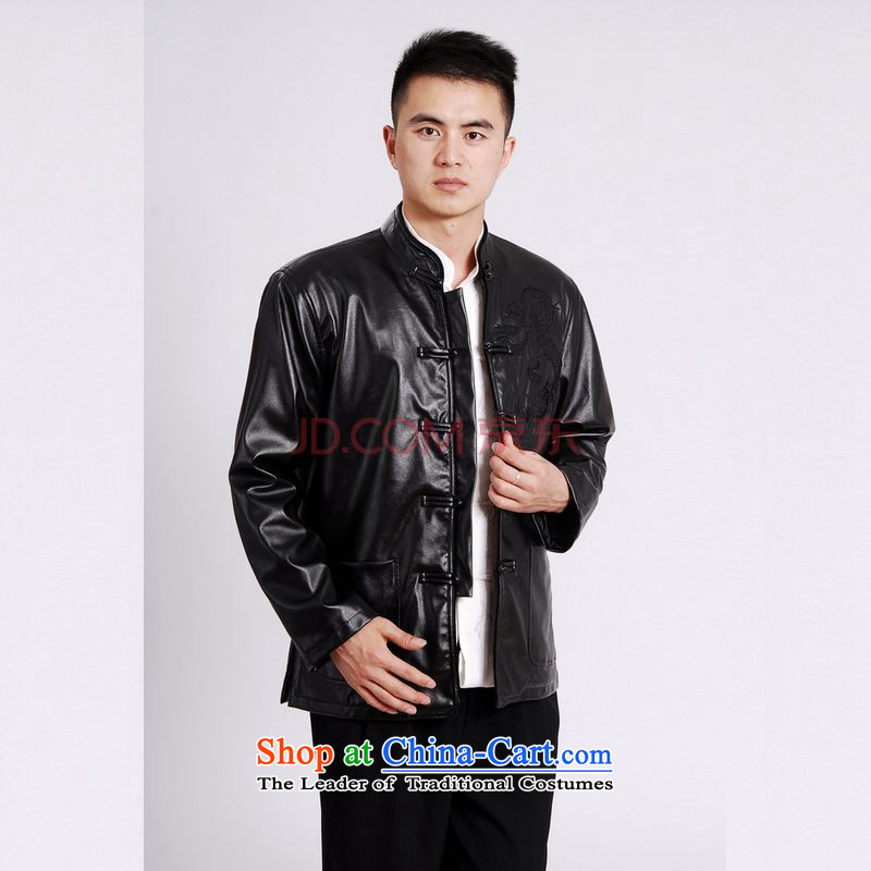 Tang Dynasty Joseph Pang Men long-sleeved sweater Tang blouses men's leather jacket water Sable Hair Tang dynasty leather garments plus lint-free Black XL