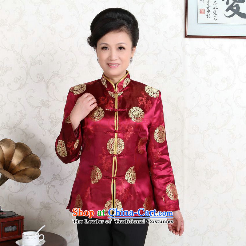 The elderly in the Arthur Min Tang dynasty couples with collar China wind dress too Shou Yi wedding services will wine red women燲XL