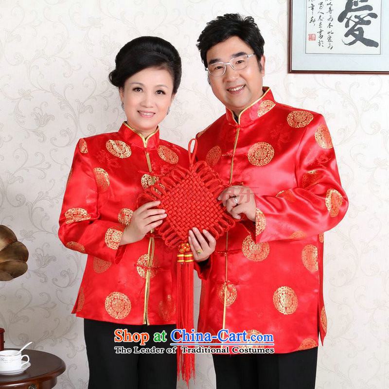The elderly in the Arthur Min Tang dynasty couples with collar China wind dress too Shou Yi wedding services will red men?XXL