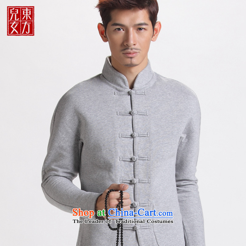 The sons and daughters of the oriental nation disc detained Men's Mock-Neck jackets for winter stylish China wind original design cotton jacket flower gray Tang聽170_L