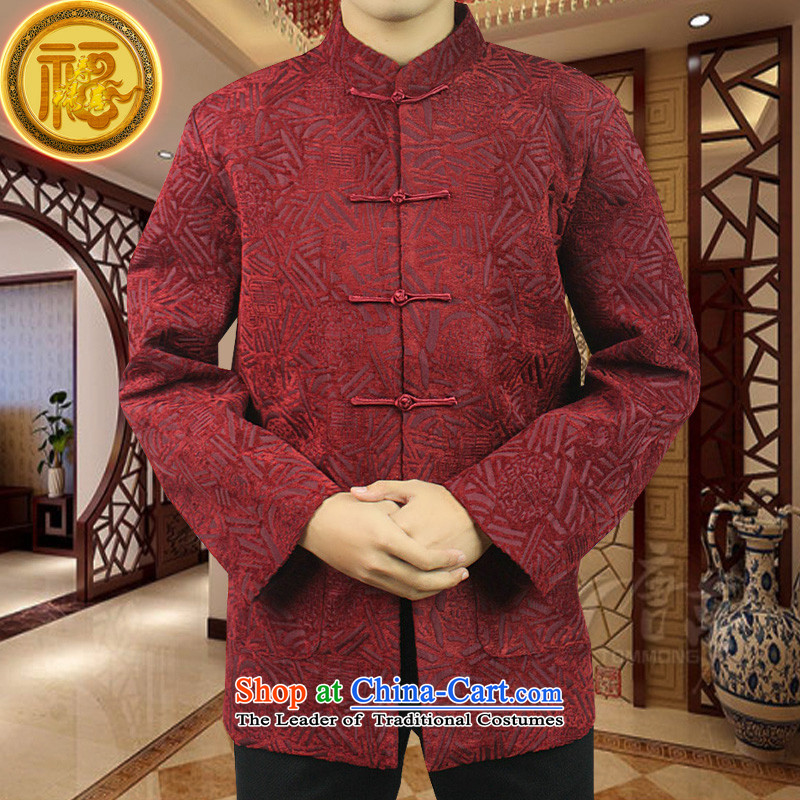 Boris poetry of high-end Federal Tang dynasty in Tang Dynasty elderly men in聽spring and autumn 2015 New Tang hand disk detained heavyweight jacquard Chinese collar Tang jackets聽190_XXXXXL red