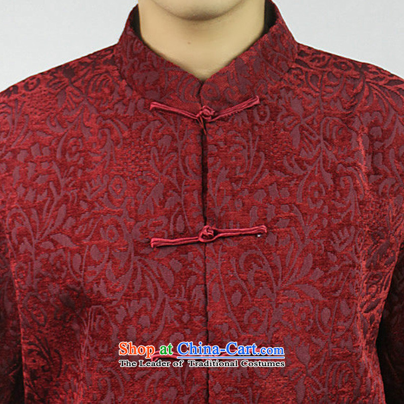 Boris poetry of high-end Federal Tang dynasty in Tang Dynasty elderly men in spring and autumn 2015 New Tang hand disk detained heavyweight jacquard Chinese collar Tang jackets red 190/XXXXXL, Federation Bao Shi (lianbangbos) , , , shopping on the Interne