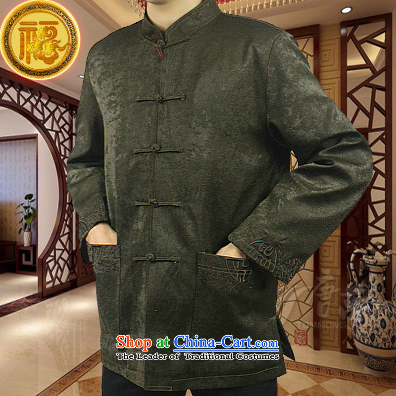 Mr Tang Dynasty poem federation male long-sleeved elderly men in Tang Dynasty�15 autumn and winter Tang hand-held national costumes Chinese collar Tang jackets�0_XL Coffee