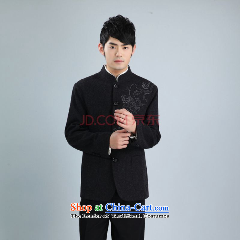 Min Joseph men Chinese tunic jacket collar wool? Tang jackets men Tang dynasty long-sleeved sweater?XXXL black