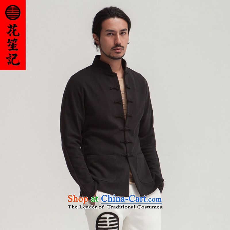 His Excellency flower note China wind Judge Bao Tang dynasty men tray clip Sau San Chinese national Dress is smart casual cotton spring coat black thin Extra-sensitive _XS_
