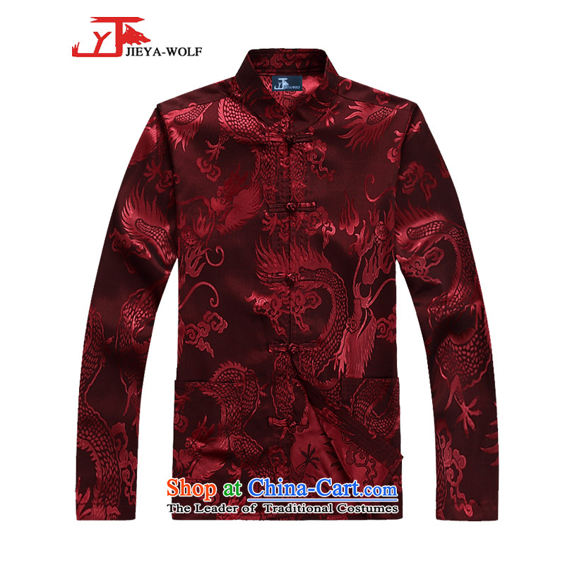 - Wolf JIEYA-WOLF, New Tang dynasty Long-sleeve kit spring and fall lung stars of men kit tai chi red聽180_XL set
