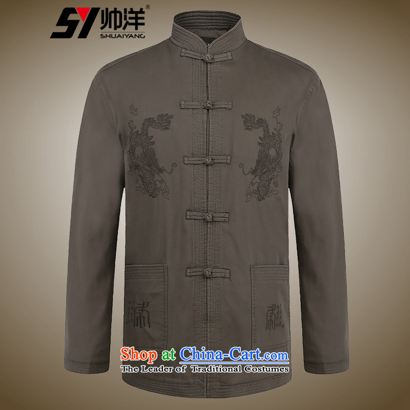 The new ocean shuai winter thick men in Tang Dynasty cotton jacket older Men's Mock-Neck cotton coat Chinese father boxed national costumes to elders flattering darkkhaki聽185