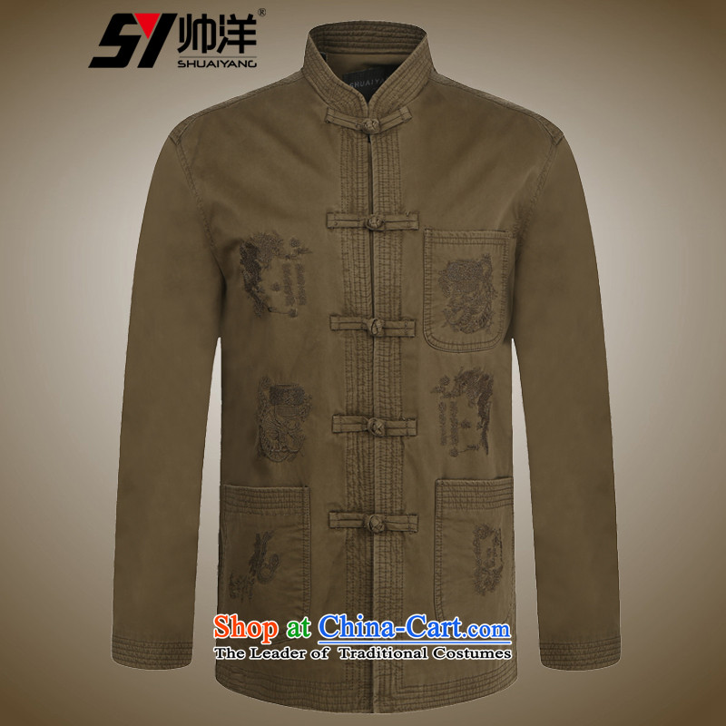 Replace spring and autumn 2015 Yang Shuai men Tang jackets national costumes Chinese Men's Mock-Neck jacket cotton wash process collar new Chinese tunic China wind men deep card its聽180