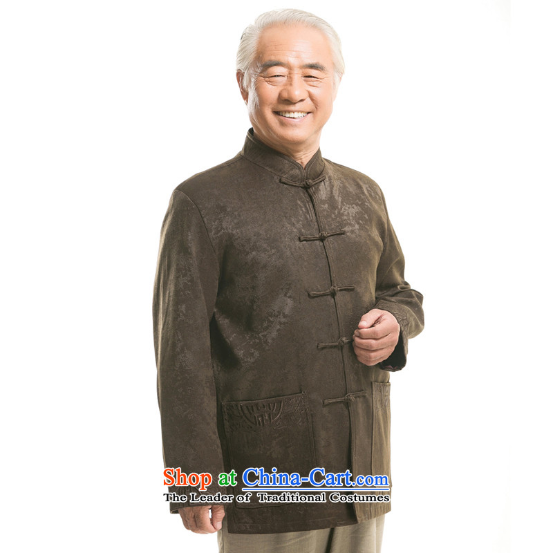 The new line of Bosnia and thre genuine elderly in the autumn and winter Men's Mock-Neck Chinese Tang jackets of ethnic Chinese collar manually large detained men disc loading F1451 Tang lady green winter燣_175_