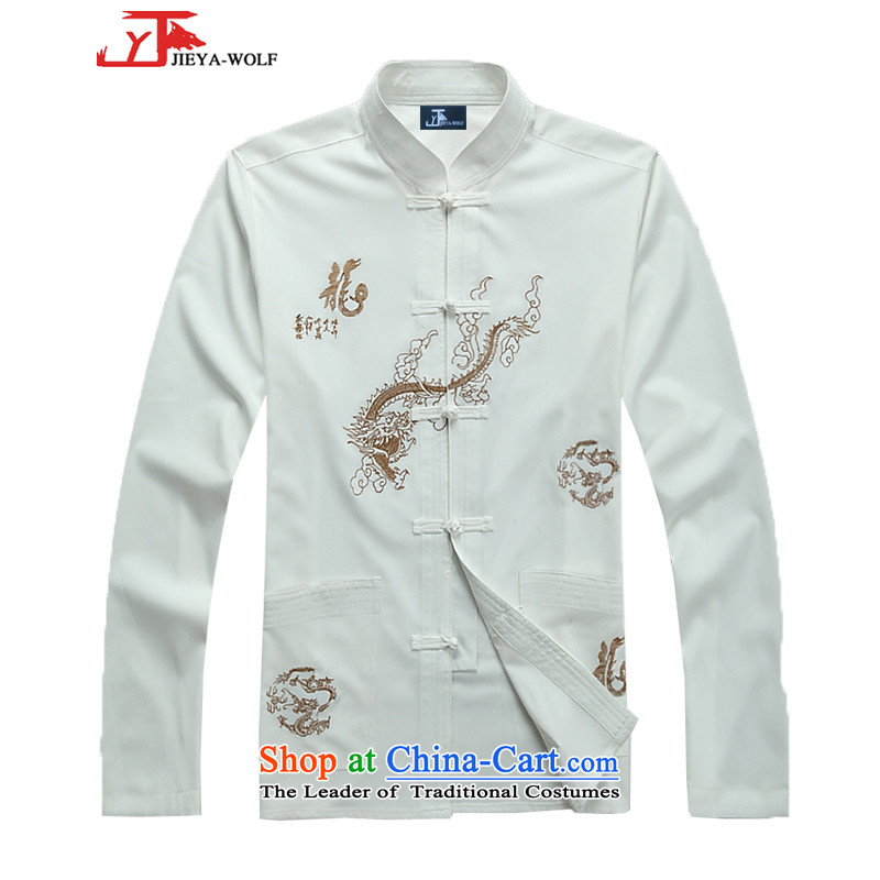 - Wolf JIEYA-WOLF, New Tang dynasty Long-sleeve kit stylish stars of the spring and fall of men Package Boxed set of Tai Chi聽175_L White