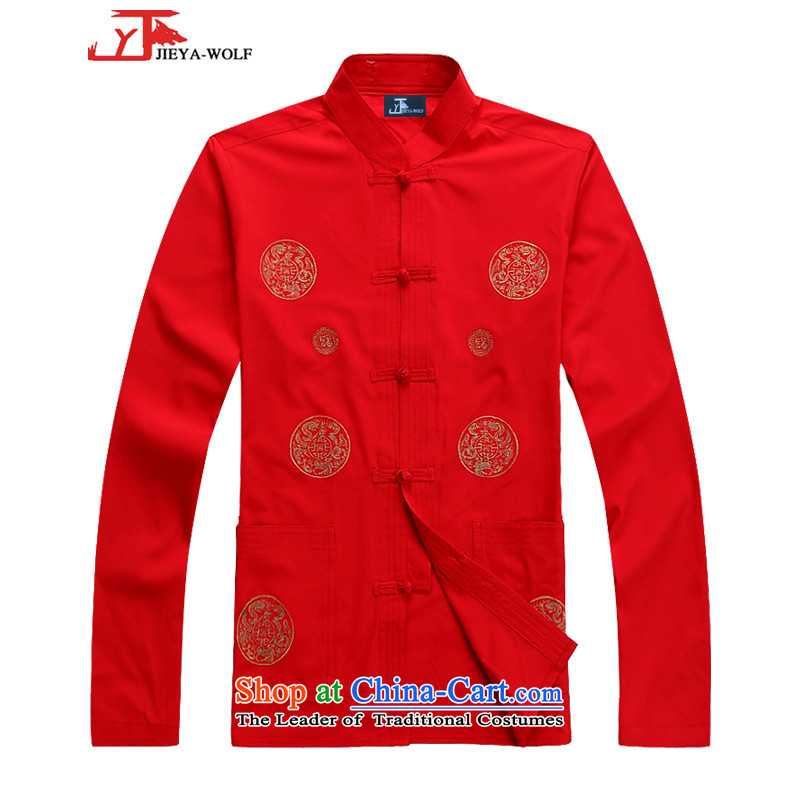 - Wolf JIEYA-WOLF, New Tang dynasty Long-sleeve Kit Stylish spring and fall round male_ star Jackie Chan Kit tai chi red聽190_XXXL set