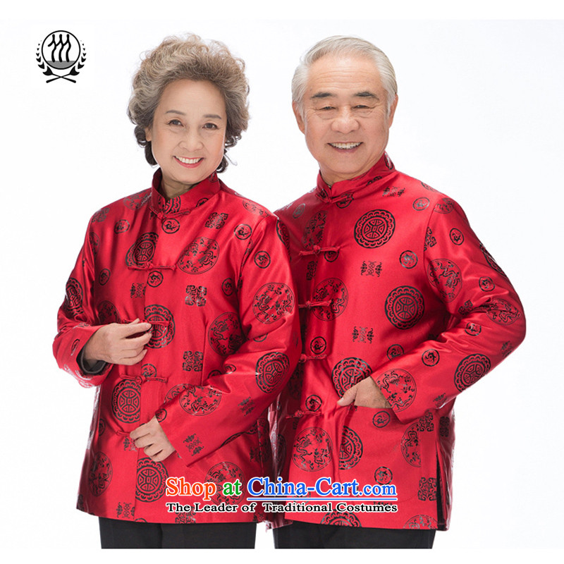 Bosnia and thre line older women and men in Tang Dynasty long-sleeved mom and dad couples with golden marriage celebrated men and women's robe Tang jackets F2069 couples, men red men L