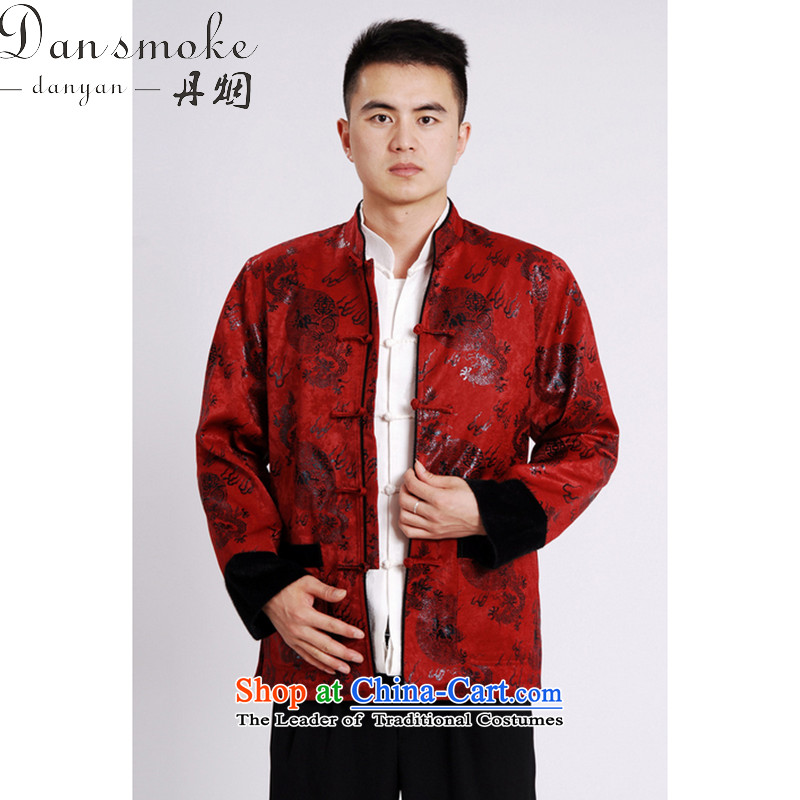 Dan smoke autumn and winter new Mock-Neck Shirt Zhongshan Tang dynasty and flat, lint-free cloth mink gross cotton in the thick of the Chinese Tang dynasty male red?L