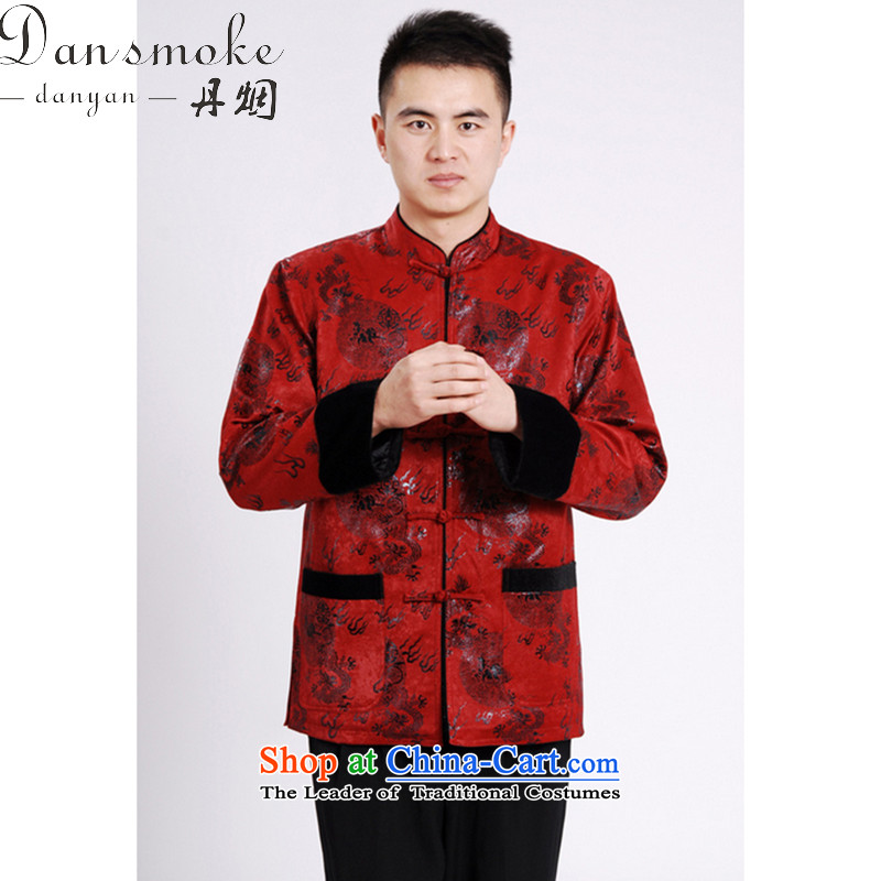 Dan smoke autumn and winter new Mock-Neck Shirt Zhongshan Tang dynasty and flat, lint-free cloth mink gross cotton in the thick of the Chinese Tang dynasty male red , L, Dan Smoke , , , shopping on the Internet