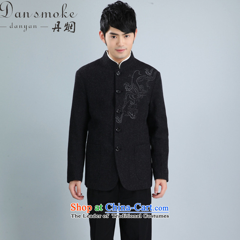 Dan smoke autumn and winter New Men Tang Dynasty Chinese tunic collar Korean wool suits Tang Dynasty to suit dress?- 3?2XL Black