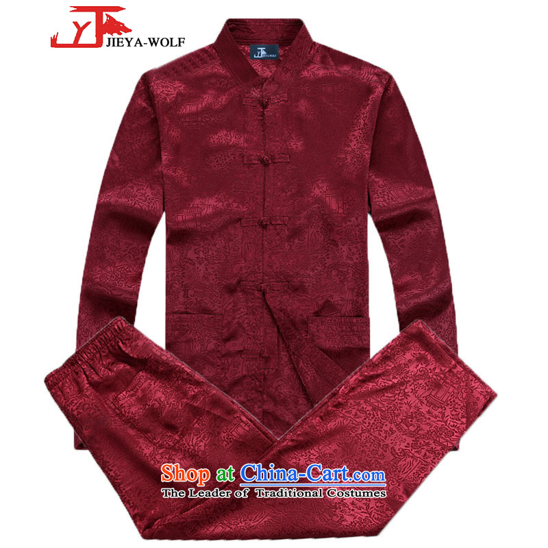 - Wolf JIEYA-WOLF, New Tang dynasty Long-sleeve Kit Stylish spring and fall along the River During the Qingming Festival  of men kit tai chi?170/M red
