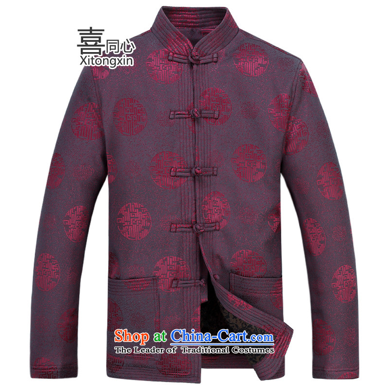 New Tang Dynasty Long-Sleeve Shirt for winter men father replacing Tang casual male plush, elderly people in the country's cotton coat deep red�XXL