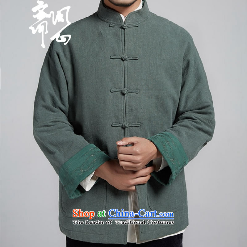 Q Shinsaibashi represented a health _New_ Men's men Tang dynasty improved with a color scheme of the sleeve jacket WXZ1106 robe green燤