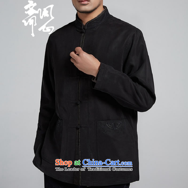 Q Shinsaibashi represented a health _New_ Men's men improved Tang Dynasty Chinese Wind Jacket WXZ1105 robe black聽48