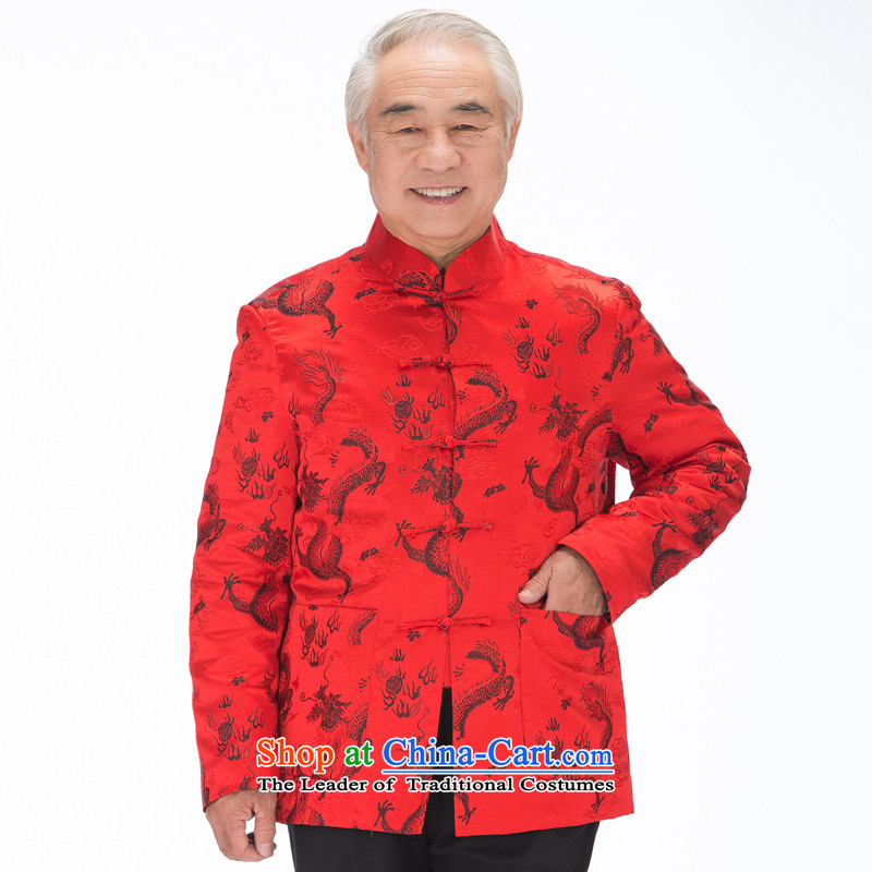 Bosnia and thre line gown men fall and winter Tang dynasty dragon l tray clip Chinese improvements manually cultural embroidery Tang dynasty cotton coat?F1211?red winter) COTTON?XL/180