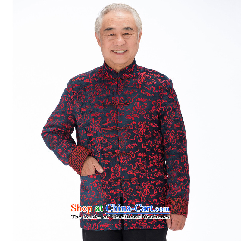 The new line of Bosnia and thre men satin Chinese Mock-Neck Shirt Tang dynasty China wind men rounded Hee-ryong, Older ethnic聽F1316 Tang dynasty聽blue and red聽L_175