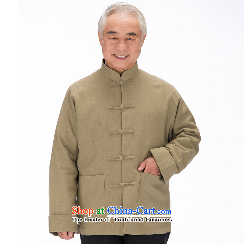 Bosnia and the elderly in the spring and autumn thre line genuine linen manually Tang dynasty detained disc traditional Chinese-shoulder even cuff male national costumes F1320 M_170 m Yellow