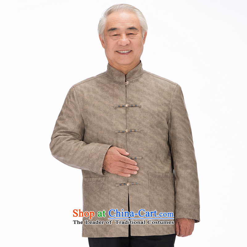 Bosnia and the former innovation products line thre Korean men grain Ma Tei Tang jackets in older leisure simulated Leather Collar Chinese Tang dynasty pu燜1322爇haki XL_180
