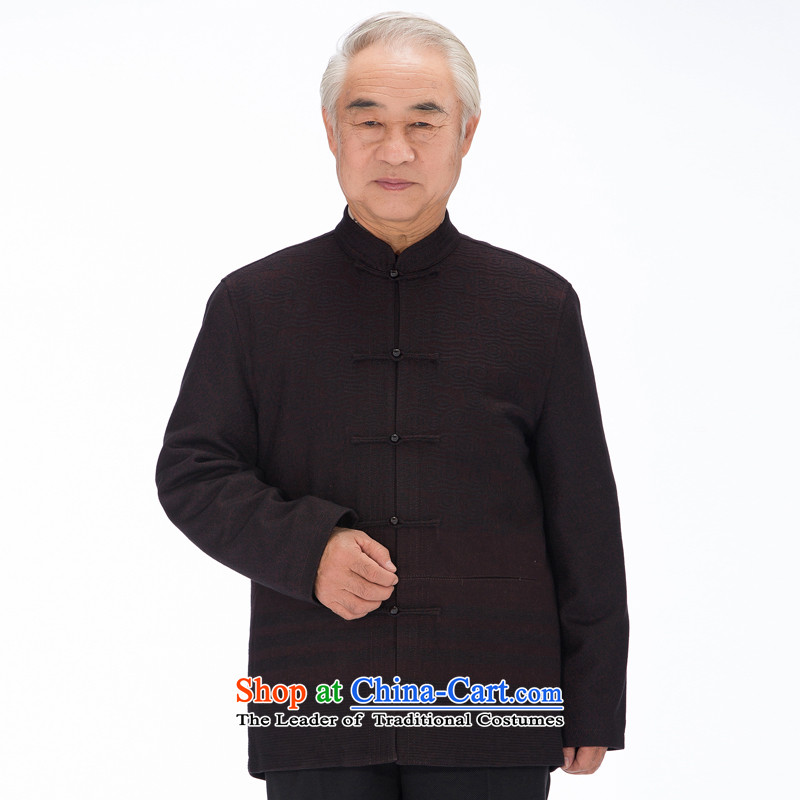 Thre line autumn and winter and new wool a China wind men of older persons in the Tang dynasty men's winter coats?FD-14012 Chinese tunic??XL/180 dark red