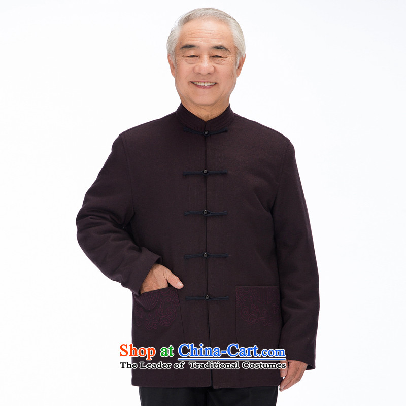 The new products and thre men upscale wool? Tang dynasty male long-sleeved autumn and winter large Chinese elderly men and national costumes?FD-14017 jacket??L/175 aubergine
