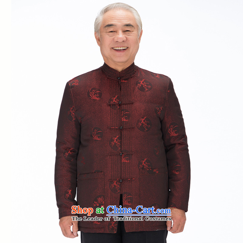 Tang Dynasty men FD-14018 脙镁貌芒 Tang Dynasty hailed the elderly in the long-sleeved Fall_Winter Collections China wind men large long-sleeved cotton coat聽M_170 dark red