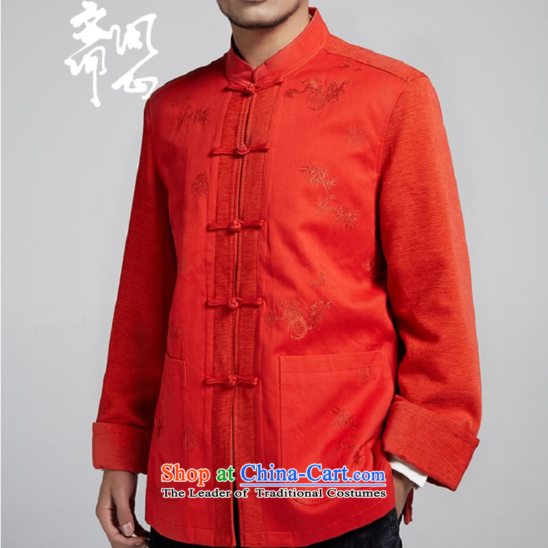 Q Shinsaibashi represented a health (New) Men's men's winter coats improved Tang Dynasty Chinese Disc detained stitching WXZ1102 T-shirt with red-orange, L, Ramadan , , , shopping on the Internet