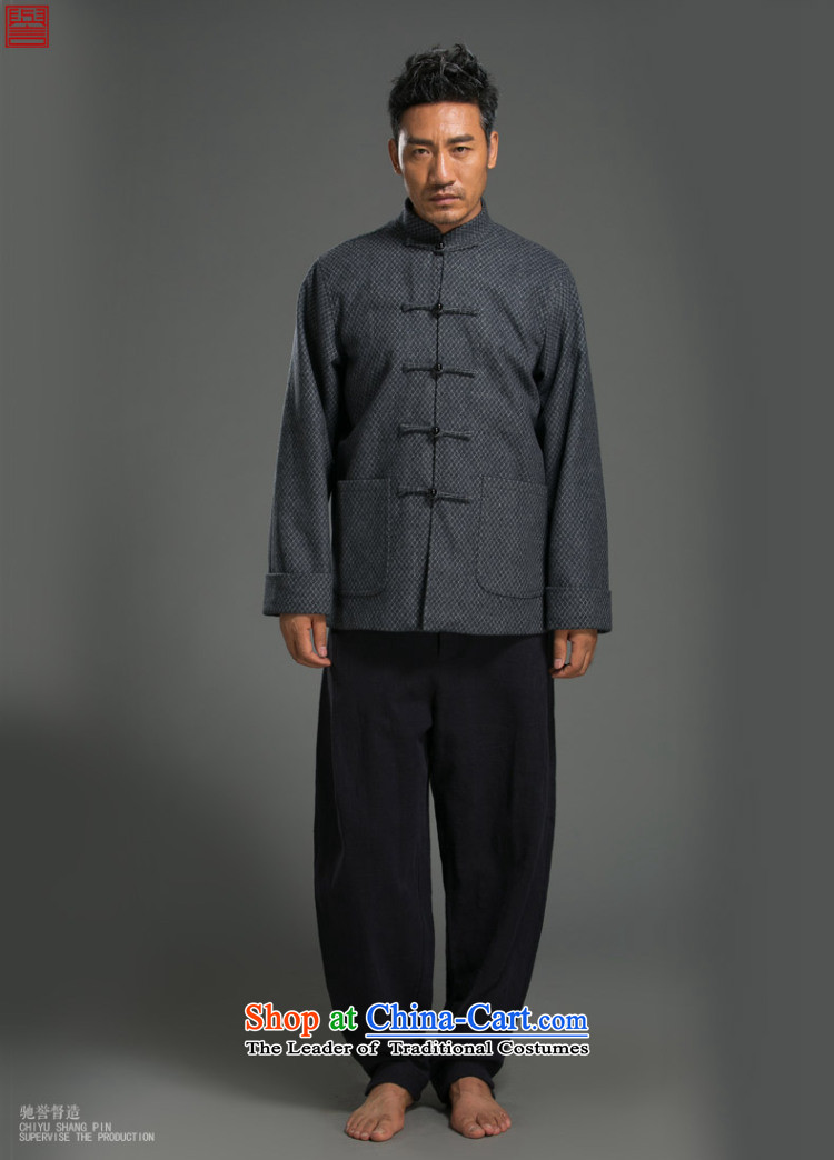 Renowned China wind tempering of the Tang Dynasty Chinese Men's Mock-Neck long-sleeved cotton linen loose men t-shirt national bead detained Blue XXL picture, prices, brand platters! The elections are supplied in the national character of distribution, so action, buy now enjoy more preferential! As soon as possible.