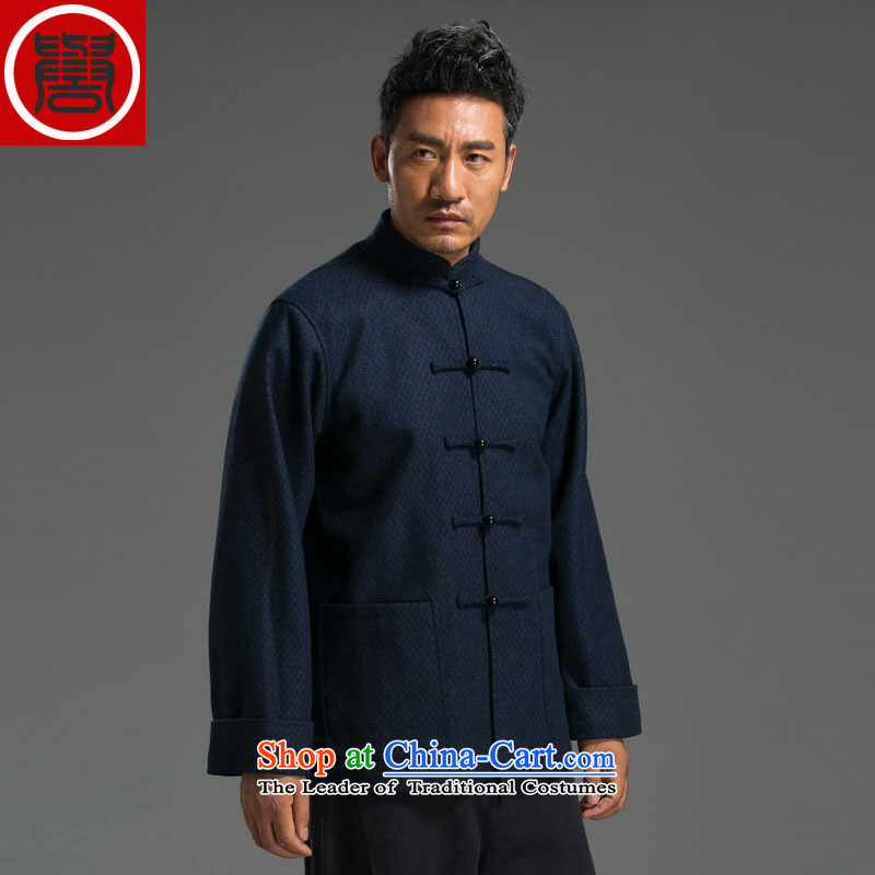 Renowned China wind tempering of the Tang Dynasty Chinese Men's Mock-Neck long-sleeved cotton linen loose men t-shirt national bead detained Blue燲XL