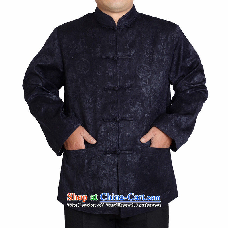The Cave of the elderly 15 new autumn and winter jackets and Grandfather Tang replacing older national costumes T1157 dark blue cotton plus _170 code
