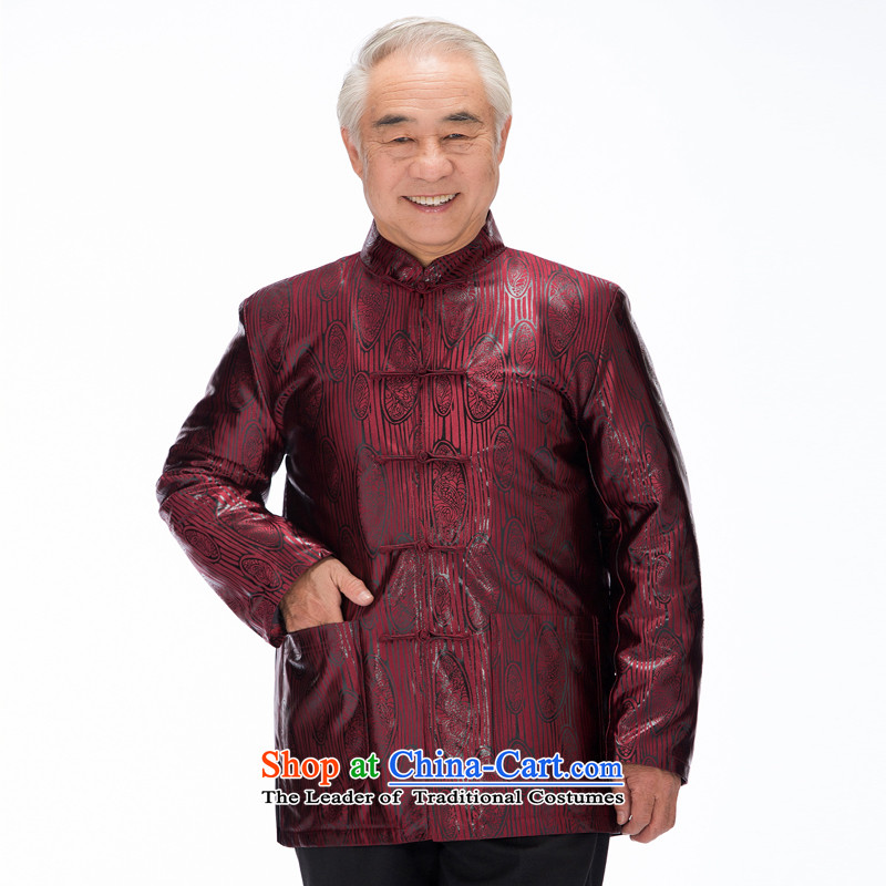Thre line autumn and winter and new product men Tang dynasty China wind the elderly in the countrysides Chinese collar birthday gifts cotton coat father replacing F1137 wine red cotton?M/170 Plus