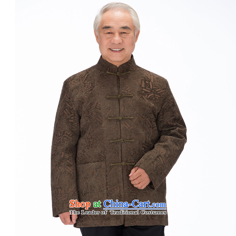Bosnia and the elderly in the line thre Tang dynasty autumn and winter New Men's Jackets father installed China wind up manually detained Chinese Men's Mock-Neck F1455 Tang dynasty green curry燲XXL_190 color