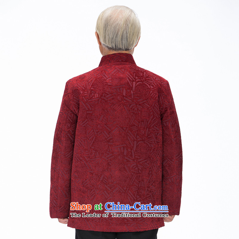 Bosnia and the elderly in the line thre Tang dynasty autumn and winter New Men's Jackets father installed China wind up manually detained Chinese Men's Mock-Neck F1455 Tang dynasty green curry XXXL/190, color and line (gesaxing thre) , , , shopping on the